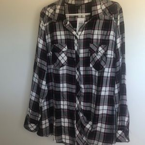 Torrid blank and pink plaid long sleeve shirt
